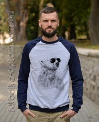 Реглан двухнитка темно-синий с серым Медведь
